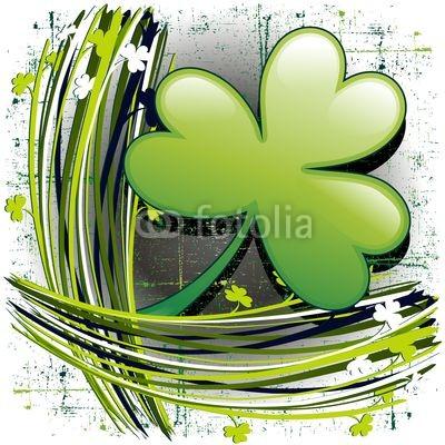 St Patrick's Day Shamrock on Grunge Background