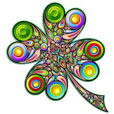 Shamrock Clover Psychedelic Art Design