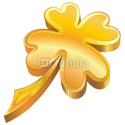 St Patrick Luck Golden Shamrock Symbol