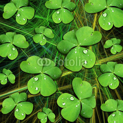 St Patrick Shamrock with Dew Digital Art Pattern