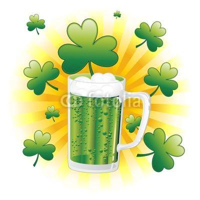 St Patrick Green Beer with Shamrocks