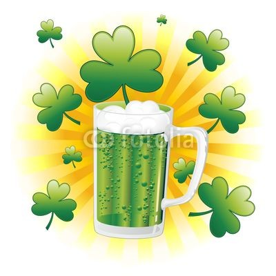St Patrick Green Beer with Shamrocks