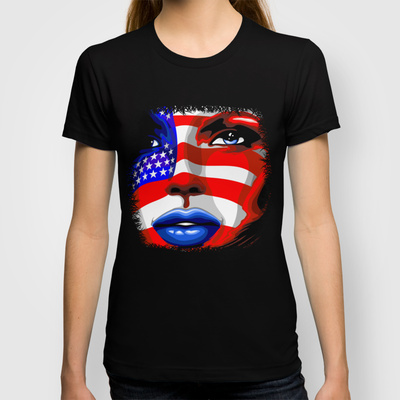 Usa Flag on Girl's Face Unisex Tank Top