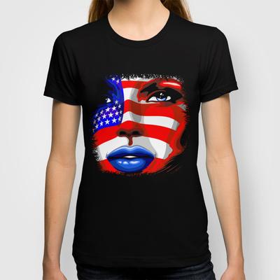 Usa Flag on Girl's Face Unisex Tank Top