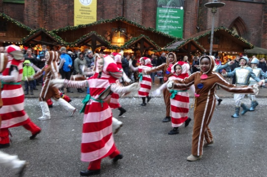 dancing sugar canes and gingerbread men and women