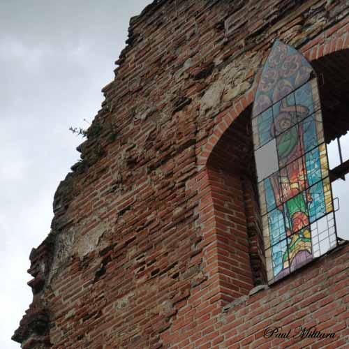 stained glass against storm