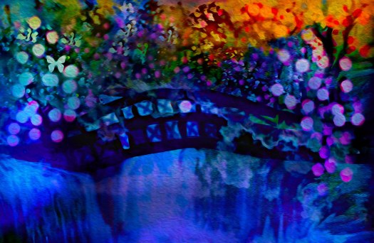 My Little old bridge is done in acrylic on canvas. I love painting on anything..meaning, board, plastic whatever may be available at the time.. http://sherri-nicholas.artistwebsites.com/featured/cross-over-the-bridge-sherri-of-palm-springs.html