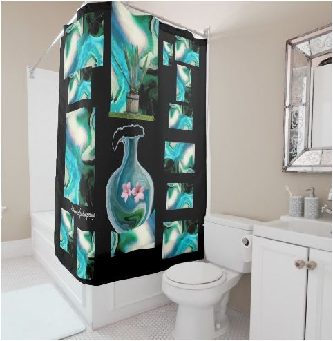 aqua shower curtain tucked around the tub by sherri nicholas