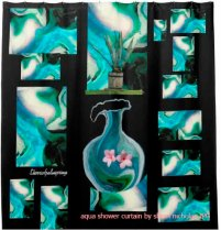 aqua shower curtain by sherri nicholas